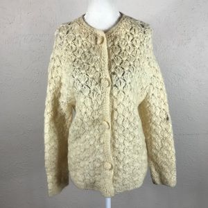Vintage 50s wool mohair cardigan off white cream